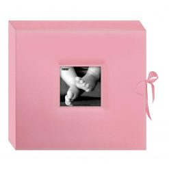 New Pioneer 12 by 12 D-Ring Sewn Leatherette Scrapbook Box, Baby Pink