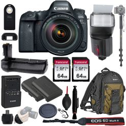 Canon EOS 6D Mark II DSLR Camera + 24-105mm f/3.5-5.6 Lens + Acc.