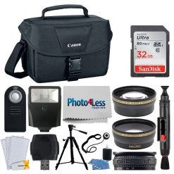 Canon EOS Shoulder Bag 100ES (Black) + 32GB Memory Card + 58mm Telephoto & Wide Angle Lens + Flash + Remote + Tripod + Card Reader + More Top Accessory Bundle