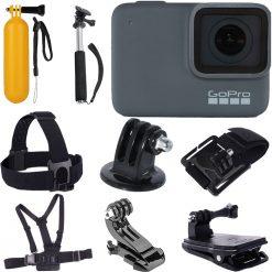 GoPro HERO7 Silver Waterproof Digital Action Camera + Chest Head Strap + Monopod