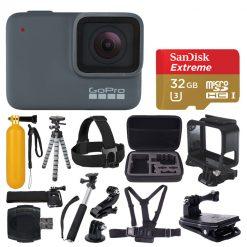 GoPro HERO7 Silver Waterproof Digital Action Camera + 32GB MicroSD + Monopod