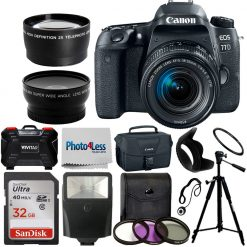 Canon EOS 77D DSLR Camera + EF-S 18-55mm IS STM Lens + More