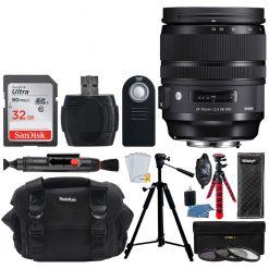 Sigma 24-70mm f/2.8 DG OS HSM Art Lens for Nikon + 32GB Memory Card + Bundle