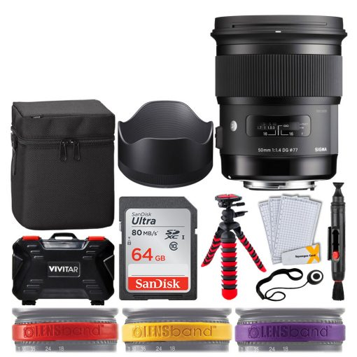 Sigma 50mm f/1.4 DG HSM Art Lens for Canon EF + SanDisk 64GB Ultra UHS-I SDXC Memory Card + 12 Flexible Tripod + Memory Card Hard Case 24 Slots + Lens Cleaning Pen + Top Lens Band Variety Bundle