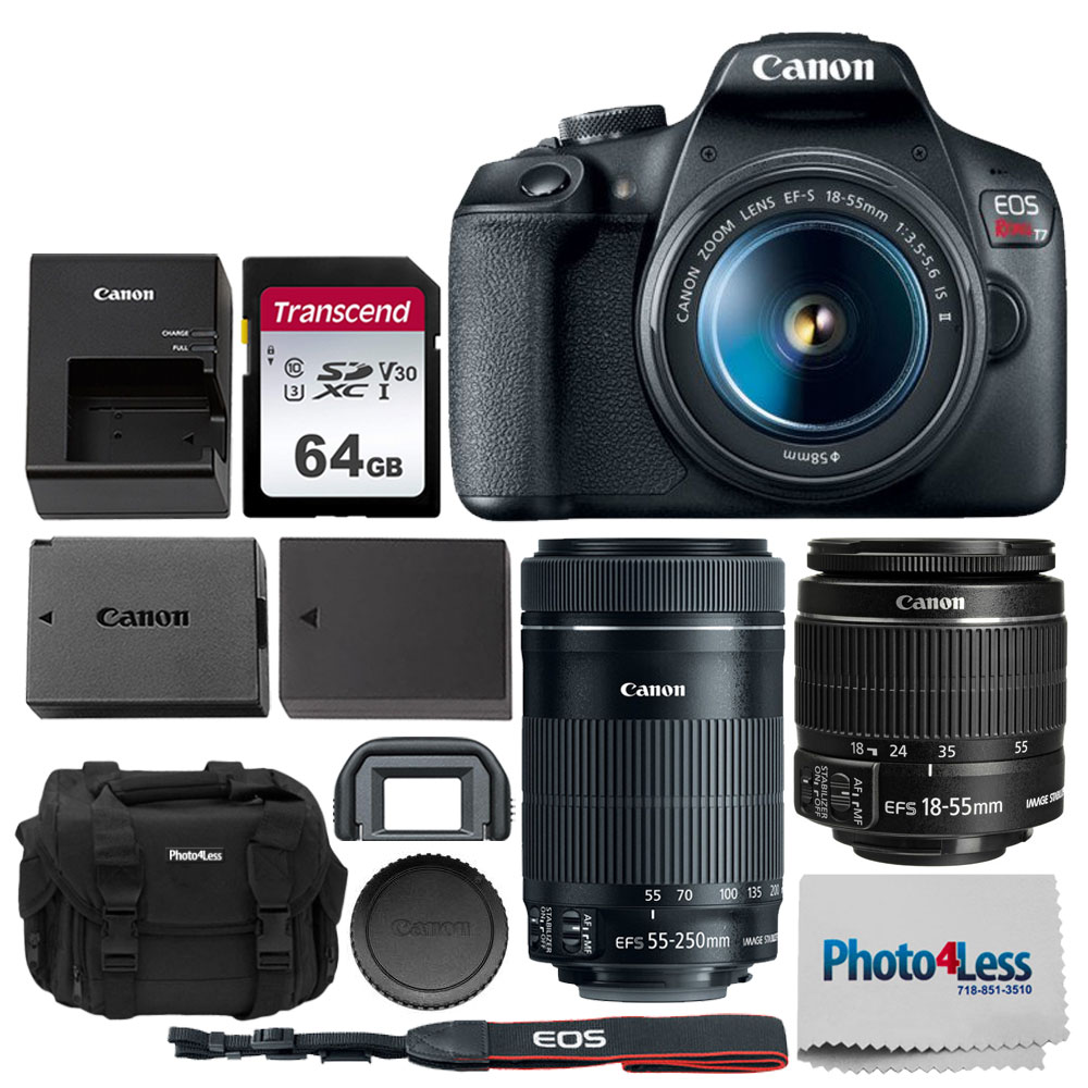 Canon Eos Rebel T7 Dslr Camera With 18 55mm And 55 250mm Lens