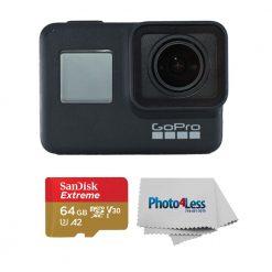 GoPro HERO7 Black-Waterproof Action Camera-4K HD Video+ Sandisk 64GB Memory Card