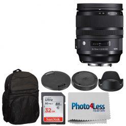 Sigma 24-70mm f/2.8 DG OS HSM Art Lens for Nikon + Backpack + 32GB Memory Card