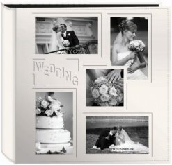 Pioneer Collage Frame Embossed Wedding Sewn Leatherette Cover Photo Album Ivory