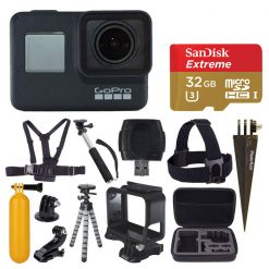 GoPro HERO7 Black Digital Action Camera with 4K HD Video 12MP Photos, SanDisk 32GB Micro SD Card, Hard Case - Accessory bundle