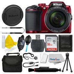 Nikon COOLPIX B500 16MP Digital Camera (Red) + 16GB Deluxe Accessory Bundle!