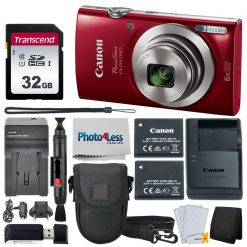 Canon PowerShot ELPH 180 Camera (Red) + Accessories