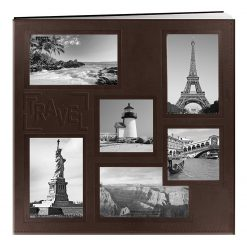 """Pioneer Sewn Embossed Collage Frame Post Bound Album 12""""X12""""- Travel - Brown"""