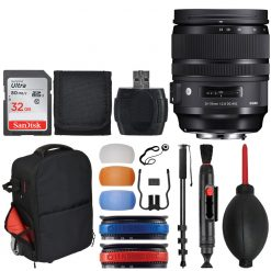 Sigma 24-70mm f/2.8 DG OS HSM Art Lens for Nikon + Trolley + 32GB Memory Card