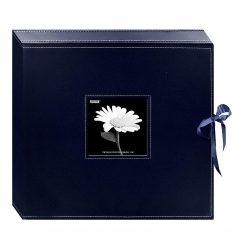 New Pioneer 12x12 3-Ring Ribbon Closure Memory Book Box, Navy Blue