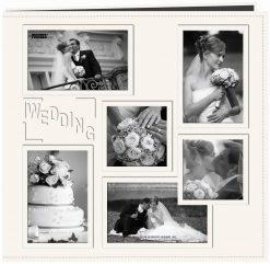 "Pioneer Sewn Embossed Collage Frame Post Bound Album 12""X12""- Wedding - Ivory"