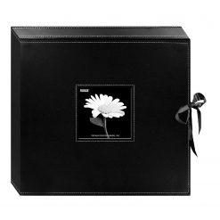 New Pioneer 12x12 D-Ring Sewn Leatherette Scrapbook Box, Black w ribbon closure