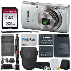 Canon PowerShot ELPH 180 Digital Camera (Silver) + Accessories