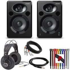 Alesis ELEVATE 5 MKII | Powered Desktop Studio Speakers + Samson Headphones + Cables + Rip-Tie