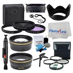 55mm Lens 3 Piece Filter Accessory Kit for Canon, Nikon, Sony, Samsung, UV/CPL/FLD + Telephoto Lens + Wide Angle + Lens Hood + 4 Piece Macro Filter Kit + Tabletop Tripod/Handgrip - Accessory Bundle
