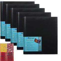 "Itoya Art Portfolio Multi-Ring Refillable Binder 18x24"" 5 Pack + Emoji Stickers"