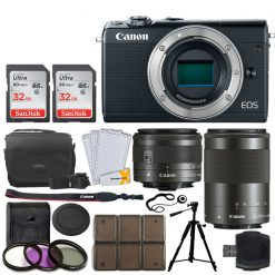 Canon EOS M100 Mirrorless Digital Camera + EF-M 15-45mm f/3.5-6.3 IS STM Lens (Graphite) + EF-M 55-200mm f/4.5-6.3 IS STM Lens (Black) + 32GB Memory Card + Tripod + 12 Piece Card Holder + UV Filters