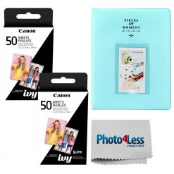 "Canon 2 x 3"" ZINK Photo Paper Pack (100 Sheets) + Album 128 Pages + Cloth"