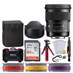 Sigma 50mm f/1.4 DG HSM Art Lens for Nikon F + SanDisk 64GB Memory Card + 12 Flexible Tripod + Memory Card Hard Case 24 Slots + Lens Cleaning Pen + Top Lens Band Variety Bundle