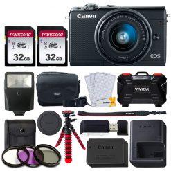 Canon EOS M100 Mirrorless Digital Camera & 15-45mm Lens (BK) + 64GB Card + Case