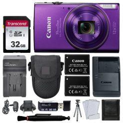 Canon PowerShot ELPH 360 HS Digital Camera (Purple) + Top Value Accessories!