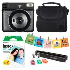Fujifilm instax SQUARE Camera (Grey) + Instax 20 + Hanging Frames + Case