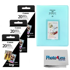 Canon Zink Photo Paper Pack, 60 sheets + Photo Album + Cloth