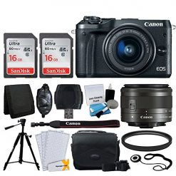 Canon EOS M6 Mirrorless Digital Camera + EF-M 15-45mm f/3.5-6.3 IS STM Lens (Graphite) + 32GB Memory Card + Camera/Camcorder Bag + Quality Tripod + USB Card Reader + 49mm UV Filter - Accessory Bundle