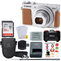 New Canon PowerShot G9 X Mark II Digital Camera (Silver) + 32GB Card + Holiday Accessories