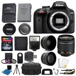 Nikon D3400 Digital SLR Camera + 3 Lens Kit: 18-55mm VR Lens + 32GB Full Bundle