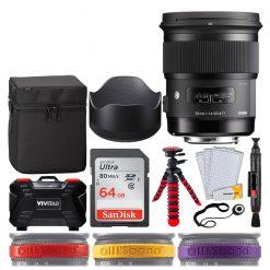 Sigma 50mm f/1.4 DG HSM Art Lens for Canon EF + SanDisk 64GB Ultra UHS-I SDXC Memory Card + 12 Flexible Tripod + Memory Card Hard Case 24 Slots + Lens Cleaning Pen + Top Lens Band Variety Bundle