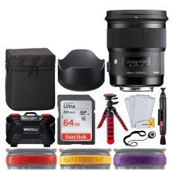 Sigma 50mm f/1.4 DG HSM Art Lens for Nikon F + SanDisk 64GB Memory Card + 12 Flexible Tripod + Memory Card Hard Case 24 Slots + Lens Cleaning Pen + Top Lens Band Variety Bundle
