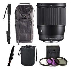 Sigma 16mm f/1.4 DC DN Contemporary Lens for Sony E - Top Value Accessory Bundle