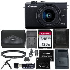 Canon EOS M200 Mirrorless Digital Camera with 15-45mm Lens (Black) Deluxe Bundle