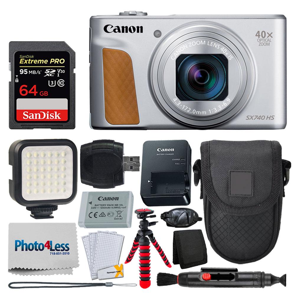Photo4less Canon Powershot Sx740 Hs Digital Camera Silver 64gb Card Case Tripod
