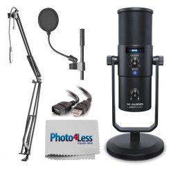 M-Audio Uber Mic Pro USB Microphone With Headphone Output + Pop Filter + Extension Cable + Boom Arm with XLR Cable