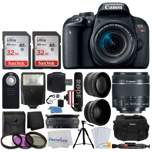 Canon EOS Rebel T7i DSLR Camera with 18-55mm Lens Video Creator Kit + 64GB Memory Card + 58mm Wide Angle + 2x Telephoto Lens + Wireless Remote + Slave Flash + Quality Tripod + Deluxe Accessory Bundle