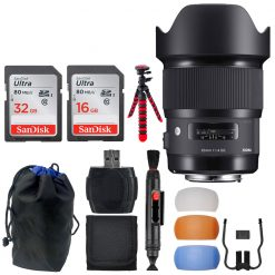 Sigma 20mm F1.4 ART DG HSM Lens for Nikon + 32 & 16GB Memory Card + Pouch + Kit