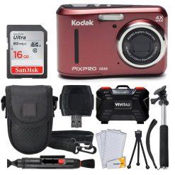 Kodak PIXPRO FZ43 Digital Camera (Red) + 16GB + Case + Monopod + Tripod + More