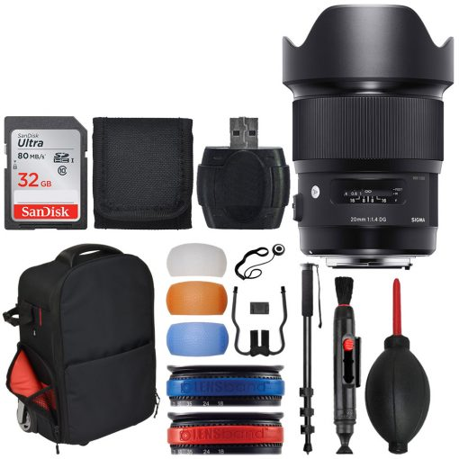 Sigma 20mm F1.4 ART DG HSM Lens for Canon + 32GB Memory Card + Trolley Backpack