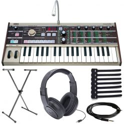Korg microKorg 37-Key Analog Modeling Synthesizer with Vocoder + Samson Over-Ear Stereo Headphones + Single-X Keyboard Stand + Instrument Cable + Cable Ties