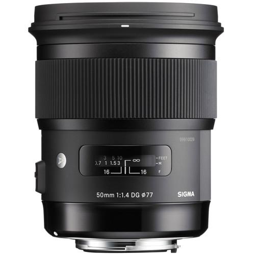 Sigma 50mm f/1.4 DG HSM Art Lens for Canon EF + 64GB + Lens Band Variety Bundle