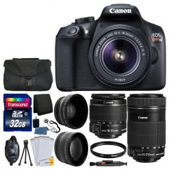 Canon EOS Rebel T6 Digital SLR Camera & 18-55mm EF-S IS II Lens + Canon EF-S 55-250mm IS STM Lens + 58mm Wide Angle Lens + 2x Lens + Camera Bag + UV Filter + 32GB SDHC Memory Card + Accessory Bundle