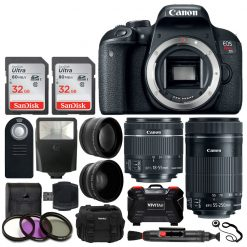 Canon EOS Rebel T7i Digital SLR Camera + EF-S 18-55mm IS STM Lens + EF-S 55-250mm IS STM Lens + Wide Angle Lens & 2x Telephoto Lens + 64GB Memory Card + Flexible Tripod + Complete Accessory Bundle