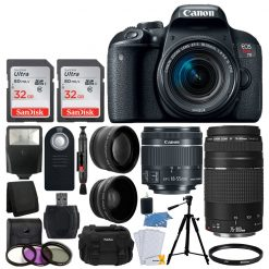 Canon EOS Rebel T7i Digital SLR Camera + EF-S 18-55mm IS STM Lens + EF 75-300mm III Lens + 64GB Memory Card + Slave Flash + Quality Tripod + Camera Bag + Wireless Remote + Deluxe Accessory Bundle