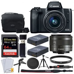 Canon EOS M50 Mirrorless Camera + 15-45mm Lens + 64GB Card + 2x Extra Battery